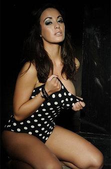 Bigbreasted Babe On Her Polka Dot Swimwear
